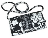 Quilted Wallet with Shoulder Strap, Matthew 19:26, Black and White