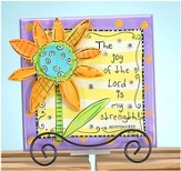 The Joy Plaque with Flower and Easel