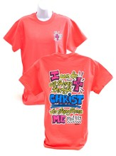 Girly Grace Strength Shirt, Coral,  Small
