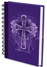 Salvos Por Su Gracia, Cruz, Diario En Espiral, Morado  (Saved By His Grace, Cross, Wirebound Journal, Purple)