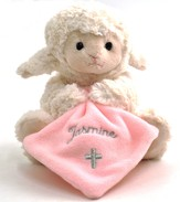 Personalized, Musical Lamb, Jesus Loves Me, with  Blanket, Pink