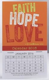 2016 Faith, Hope, Love Mini Magnetic Calendar