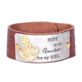 Hope Is the Anchor For My Soul Leather Bracelet