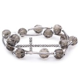 Cross Wrap Bracelet, Crystal, Gray