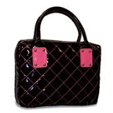 Patent Leather Quilted Bible Cover, Black and Watermelon, Medium