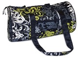 Quilted Mini Duffle, Black, White, and Chartreuse