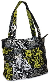 Quilted Tote, Black, White, and Chartreuse, Small