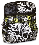 Quilted Mini Backpack, Black, White, and Chartreuse