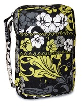 Quilted Bible Cover, Black, White, and Chartreuse, Medium