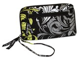 Quilted Zip Around Wallet, Black, White, and Chartreuse