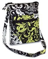 Quilted Crossbody Purse, Black, White, and Chartreuse