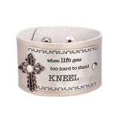 Leather Snap Bracelet, Kneel, Champagne