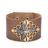 Crucifix Leather Bracelet, Bronze
