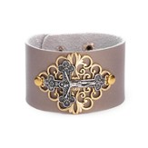 Crucifix Leather Bracelet, Champag