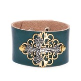 Crucifix Leather Bracelet, Teal