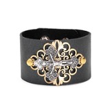 Crucifix Leather Bracelet, Black