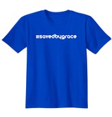 Religious - #Saved By Grace Hashtag, Shirt, Royal, Large