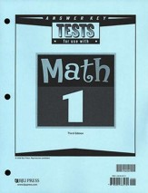 BJU Math Grade 1 Tests Answer Key Third Edition
