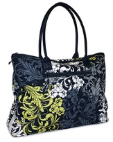 Quilted Tote, Black, White, and Chartreuse, Large