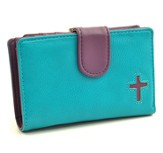 Cross Wallet, Turquoise and Purple, Large