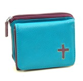 Cross Wallet with Zippered Coin Purse, Turquoise and Purple