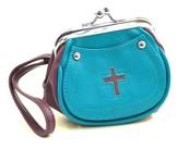 Cross Coin Purse, Turquoise and Purple