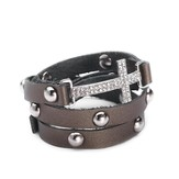 Cross Leather Wrap Bracelet, Pewter
