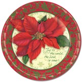 Christmas, Poinsettias Paper Plates, Pack of 8