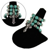 Triple Stretch Cross Charm Ring, Turquoise