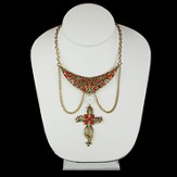 Antique Gold Bib Hanging Red Cross Necklace