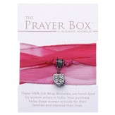 Silk Wrap Prayer Box Bracelet, Heart, Pink