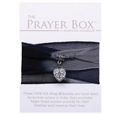 Silk Wrap Prayer Box Bracelet, Heart, Black and Gray
