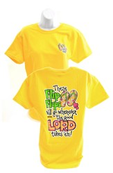 Girly Grace Flip Flop Shirt, Yellow,  Large