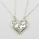 Puzzle Piece Split Heart Rhodium Plated-Genesis 31:49
