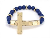 Sideway Hammered Cross, Beaded Bracelet, Gold and Blue