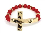 Sideway Hammered Cross, Beaded Bracelet, Gold and Red