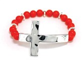 Sideway Hammered Cross, Beaded Bracelet, Silver and Coral