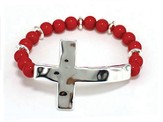 Sideway Hammered Cross, Beaded Bracelet, Silver and Red
