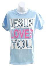 Jesus Loves You Shirt, Blue, Small