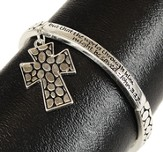 Silvertone Stetch Bracelet with Saying, Drop Cross