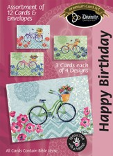 Happy Birthday Boxed Cards, Bicycles, Box of 12