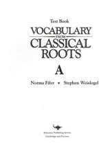 Vocabulary from Classical Roots Blackline Master Test: Book A