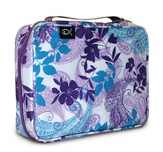 Paisley and Leaves Nylon Bible Cover, Purple and Blue, Large