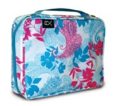 Paisley and Leaves Nylon Bible Cover, Pink and Blue, Large