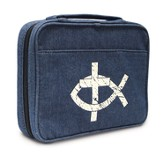 Ichthus and Cross Denim Bible Cover, Large