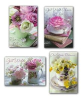 Teacup Wishes, Get Well Cards, Box of 12 (KJV)