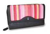 Organizer Wallet with Cross Emblem, Pink Stripes