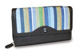 Organizer Wallet with Cross Emblem, Blue Stripes