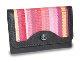 4-Fold Wallet, Cross Emblem, Pink Stripes