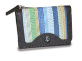 Trifold Wallet, Cross Emblem, Blue Stripes